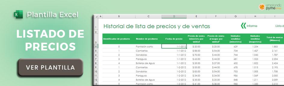 Plantilla Excel seguimiento de precios