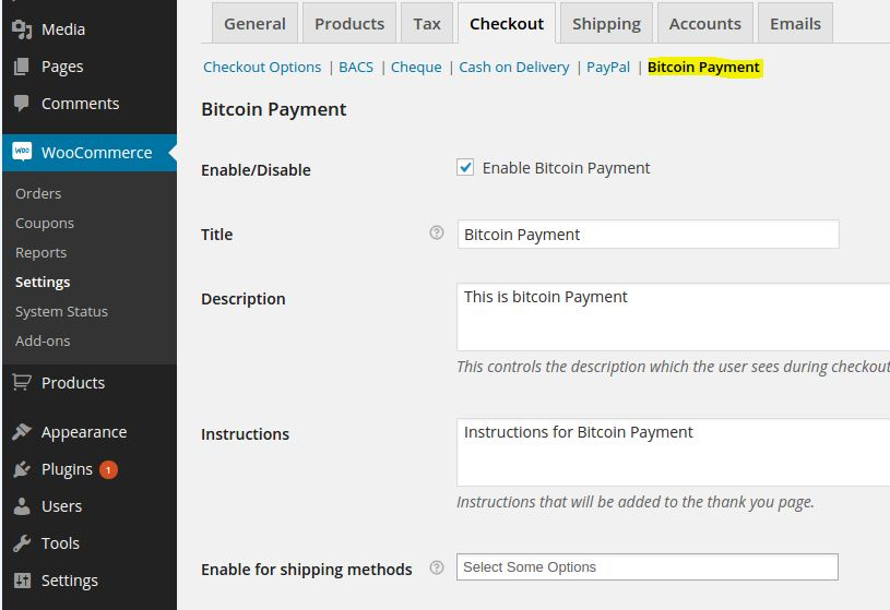 Bitcoins y WooCommerce